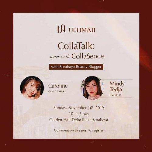 We honored to be the part of Ultima II 60th Anniversary Celebration and so happy to join Ultima II #GoBeyondExtreme event at Golden Hall Delta Plaza Surabaya, 10 November 2019, 10.00-12.00!  Event is free so if you want to come and join this beauty talk, let's come and mingle with us 😉! Lots of @sbybeautyblogger gurls will be there so we can have fun together.  #event #eventsurabaya #surabaya #surabayaevent #girl #clozetteid  #sbybeautyblogger  #bloggerindonesia #bloggerceria #bloggerperempuan #indobeautysquad  #influencer #beautyinfluencer #surabayainfluencer #surabayablogger #influencersurabaya  #indonesianbeautyblogger  #bloggerid #bblogger #bbloggerid #beautyinfluencersurabaya #SurabayaBeautyBlogger #sbbevent #eventgratis #beautyevent #ultimaii #ultimaiievent #ultimaii60thanniversary