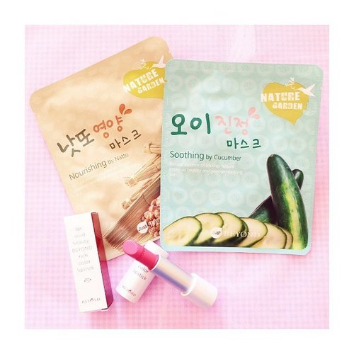 spotted ❣  summer essentials by @beyondind: mask sheets and lipstick ❣  grab yours while they're still having the anniversary sale, it ends soon on July 5th so you better be hurry than sorry (((o(*▽*)o))) #happygirl #vscocam #vscogirl #instacute #instakawaii #instastyle #himekaji #princess  #かわいい #可愛い #mumukiss #clozetteco #clozetters #clozetteid #beautyblogger #tutu #pink #instapink #coordinate #code #beyondind #masksheet #cucumber #natto #beyondkr #lipstick #lipstickjunkie #lipsticknation