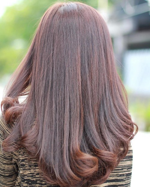 Giving my reddish brown hair some love for tomorrow's special day 🌷..Hair Coloring by @floshairbar TYSM! ❤️..#clozetteid #brownhair #haircoloring