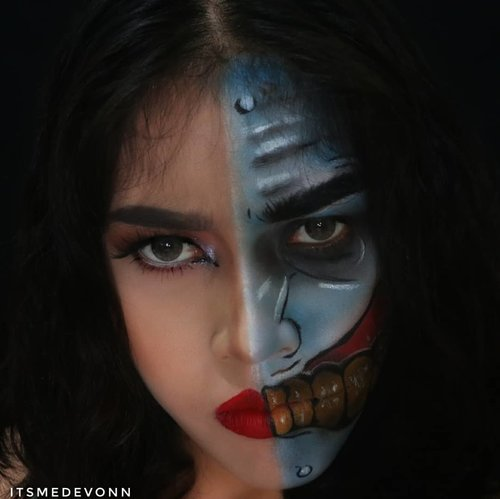 My look for @nyxcosmetics_indonesia  #bringouttheboo . I recreated @voodoobarbiedoll TWO FACE  @querramellca @cittaf . . . @arianirosidi @nona_hitampahit Ayo ikutan #bringouttheboo #botb #clozetteid #makeup #helloween #love #nyxcosmetics #NyxCosmeticId #batman