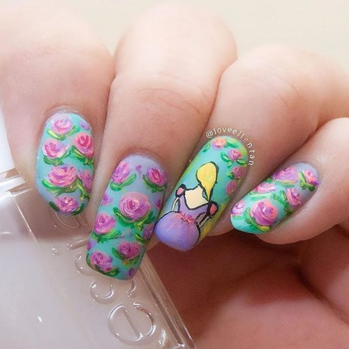 Vintage flower nail art with pretty princess there 😄😄 Who's that??? #freehandnailart #nailartwow #nails2inspire  #flowernails  #nailartdesign  #undiscovered_muas #nailartlove  #nailartdiary  #nailartcult  #ombrenails #nailartist  #nailartjunkie  #kuteksjunkies  #nailartheaven  #nailart #flowernail #clozetteid  #nailartdivas  #nailartaddicts  #nailartohlala  #amazingmakeupart  #notd  #nailoftheday  #nailartholic  #nailartclub #ombrenail #naturalnails  #nailpolish