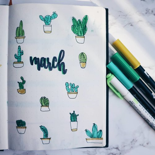 Yuhhuuuu #march is here. And this month #BulletJournal cover inspired by @amandarachdoodles 🌵If you want to find any BuJo or Doodle inspo, go chech her page. Oh, and this month lets keep this journal simple. Bcs last month was a mess in this journal lol.#clozetteid #journaling #doodlesofinstagram