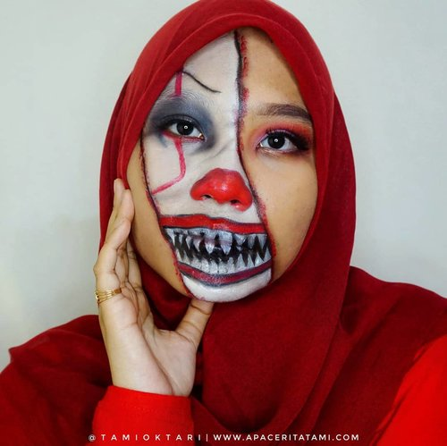 """#MakeupLookbyTami kali ini coba Pennywise Makeup 🙈  Just for fun!!.Products I Used👇🤡 @maybelline Fit Me Matte Poreless Foundation 230 Natural Buff🤡 @pac_mt All Day Coverage Liquid Foundation C03🤡 @riveracosmetics Eyebrow Matic 'Brown'🤡 @mizzucosmetics Valipcious Velvet Matte 705 Midnight Rush🤡 @beautycreations.cosmetics Eyeshadow Palette """"Elsa'🤡 @meisabulumata 'Alena'🤡 @viva.cosmetics Body Painting Red, White & Black.Inspired by @cakeface_bydrea 👩🎨.#HalloweenMakeup #HalloweenMakeupIdeas #PennywiseMakeup #PennywiseTheclown #MakeupHalloween #bunnyneedsmakeup #ClozetteID"""