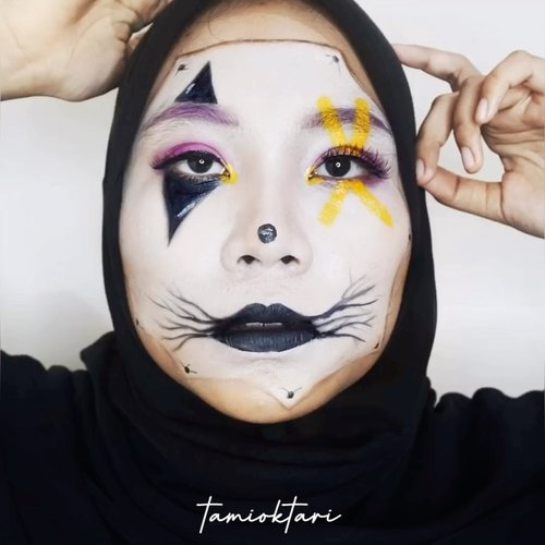 #MakeupLookbyTami hari ini temanya #ClownMakeup 🤡.Products I Used@viva.cosmetics Body Painting White & YellowOkalan 32 Color Palette Eyeshadow@nyxcosmetics_indonesia Liquid Suede Cream 'Alien'@blpbeauty Eyeliner@meisabulumata 'Lucy'.Inspired by @adribeautify @keilidhmua .Btw, yg part foto diambil pakai mirrorless dan part video diambil pakai kamera depan hp. Jadi maaf kalau hasilnya beda ya👻.#keilidhsmakeupchallenge #tiktokchallenge #tiktomakeup #tiktokindonesia #clowncheck #ivgbeauty #viralvideo #fungalacne #acneskin #makeupideas #ClozetteID