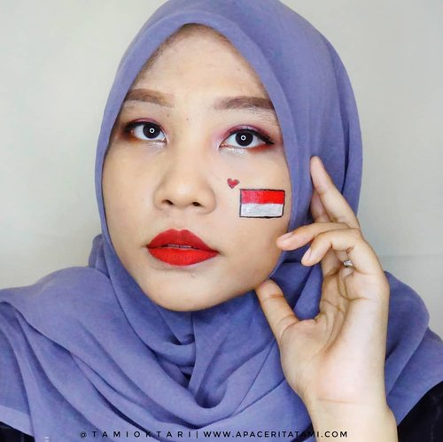 Selamat Hari Kemerdekaan, Indonesia🇮🇩.#MakeupLookbyTami kali ini edisi #IndependenceDayMakeup kolaborasi bareng @pkubeautyblogger 💁‍♀️.Products I Used 👇🇮🇩 @catrice.cosmetics HD Liquid Foundation 040 Warm Beige🇮🇩 @mobcosmetic Pro Brow Sculptor shade Wood🇮🇩 @mizzucosmetics Valipcious Velvet Matte shade 705 Midnight Rush (sebagai eyeshadow)🇮🇩 @beautycreations.cosmetics Eyeshadow Palette 'Irresistible'🇮🇩 @wardahbeauty Eyeshadow seri N🇮🇩 @wardahbeauty Eyeliner🇮🇩 @meisabulumata Alice🇮🇩 @marckscosmeticind Loose Powder - Natural Beige🇮🇩 @mizzucosmetics Valipcious Velvet Matte shade 705 Midnight Rush🇮🇩 @viva.cosmetics Body Painting Red & WhiteDan.. aku lupa ngecontour bagian idung 🤦‍♀️.#pkubeautyblogger #pkubbmakeupcollab #IndonesiaIndependenceDay #ClozetteID