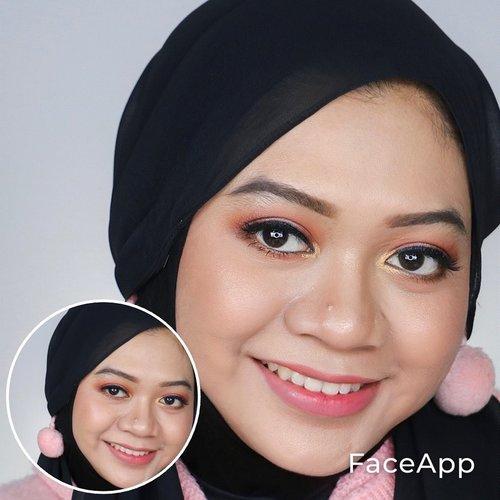 "Ikut-ikutan edit foto pake aplikasi yg lagi viral. Pas hasil fotonya keluar langsung nyeletuk, ""ih bisa gitu ya, kamu siapa?"" sambil ketawa. Padahal pas pake makeup macem2 aja aku masih nggak ngenalin muka sendiri, ini malah di""oplas""😝 . Tapi jujur alus banget gitu editannya. Sekilas kaya artis sapaa gitu. Ya nggak sih? Wkwkw 🤣 . . #fotd #hijab #makeup #inspirasimakeup #faceappchallenge #beautygram #clozetteid"