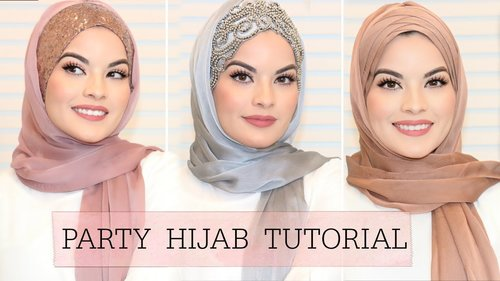3 EASY HIJAB STYLES FOR PARTY/ WEDDING | Omaya Zein - YouTube