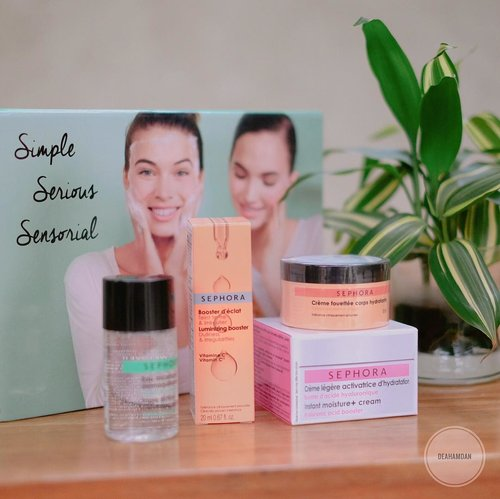 My current daily essential, before applying makeup & after cleanse my makeup off, i'm using @sephoraidn 'Simple Serious Sensorial' kit💕....#clozetteid #sephoraidn #sephoraindonesia #sephoramy #sephoramalaysia