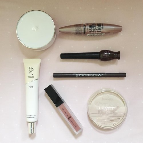 Daily Make up routine ❤️❤️  1️⃣Primer Fix and Fix Primer Pore dr Etude house  2️⃣ BB cushion Oil Control Water Cushion The Face Shop  3️⃣ Powder Rimmel stay matte presses powder  4️⃣Lipcream , eye shadow , blush on  Rollover Reaction shade Prudence  5️⃣Eye brow Etude House Drawing eyebrow shade brown  6️⃣Eyeliner Oh My Line shade brown  7️⃣ Mascara Maybelline Lash sensational Waterproof Mascara