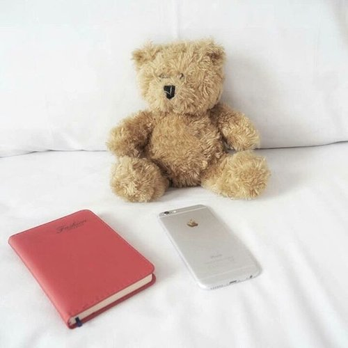 Teddy bear, smartphone, and book...always be there for you when you're sick and need to be alone 🤒🤕 #teddybear #smartphone #book #notebook #bed #bedsheet #doll #apple #sick #friend #unwell #instagood #lifestyle #clozetteid