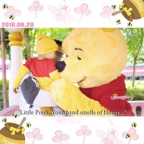 Maa shaaallaah Tabaarakallaah ❤️💛On the First Day of his First Year, he met his big bear friend ❤️💛🐻🍯 #throwback...#winniethepooh #disneybound #disneybaby #ArchieZayden #MoonFamily🌙