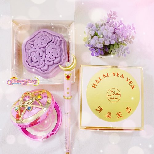 "💖🌙 Halal MoonCakes 🌙💖.Mid-Autumn Season is the Season of Mooncakes in Chinese Countries. Because I'm a Muslim, I don't celebrate anything about this season, of course, because the tradition is not only cultural thing but also somehow related to their religious beliefs. HOWEVER, seeing Mooncakes everywhere around the Town has always made me wanting to try at least ONE of the HK original Mooncakes—but, for years I never did because most of them are not Halal from the Lard & Liquor content. I already tried Halal Mooncakes in Jakarta but I wondered whether the taste would be different in Hk hehe. AND...Yesterday when we went to the Mosque in Wanchai, there were thhree women in front of the Mosque, offered us the Halal Mooncakes they sold. They had small boxes (1pc of cake) and big boxes containing four small boxes. The package is really pretty, it reminds me so much of my Sailor Moon #MiracleRomance makeup collection. Zeno also said so, haha. I never remembered knowing the price for mooncakes, but I think this one is quite pricey: It's 90 HKD (170.000 IDR) for 1 piece! 😹💦 — I don't know if it's the normal mooncake price or maybe the price is higher because it's HALAL, which means, it's RARE 😹💦.We bought two small boxes, 1 is Taro & Sweet Potato flavor (Purple), and another 1 is Low-Sugar White Lotus 1 Yolk (Brown).The taste.... is BEAUTIFUL just like how they look!💜 The Purple one feels and smells like it has a bit of sugar icing/glaze in the outer layer (idk if it's true), and the inside—the taste of taro & potato mixed with other mooncake ingredients... 🤤🤤🤤 it's so soft, it's kinda melty, it's just beautiful, and the sweetness is just right.🧡 The Brown one reminds me of the ones I used to eat in Jakarta, but it's really softer, and meltier. The taste is somehow like Bakpia haha, but they put lotus seed and boiled EGG YOLK inside, which makes a unique combo for someone who never ate Mooncakes before 🤤.It turns out, ""Halal Yea Yea"" is a Halal Bakery in Wanchai. They sold others too like breads, egg tart, donuts, etc. I just saw their facebook tho. hehe..Have you ever tried Mooncakes?? Do you like it??.#sheemasherrysailormoon #mooncake #halalmooncake"