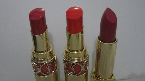 YSL lipsticks: Rouge Volupte Shine #6 Pink in Devotion; Rouge Volupte Shine #12 Corail Incandescent; Rouge Pur Couture #19 Fuchsia Pink