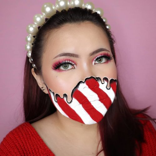 CANDY CANE MELTING CHRISTMAS CHALLENGE DAY 11/25 🎄 #25daysofchristmas 🎄 . Agak fail soalnya bikin nya pas ngantuk wkwk . • Eyeshadow @beautyglazed Mars & @thebalm What's the Tea Palette (Ice Tea) • Lashes @fabulashes.official type Tasha • Eyebrow @abstractbeautyid Brown • Facepaint @officialsnazaroo @mehronmakeup • Softlens @pinkrabbitlens Love Green . #wakeupandmakeup #christmas2019 #christmasmakeup #christmas2k19 #adventcalendar #christmasmakeuplook #christmasmakeupchallenge #countdowntochristmas #makeupoftheday #makeupchristmas #christmasedition #motd #flovivi #clozetteID #cchannel #cchannelid #aestheticmakeup