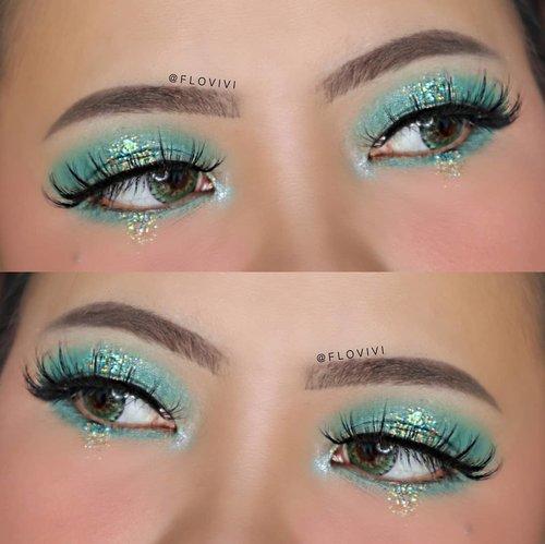 Turquoise 🌊🐚 . • Eyeshadow : @beautyglazed Eyeshadow Tray • Eyebrow : @thebalmid Furrowcious • Glitter : @eclatpressedglitter Myth • Eyelashes : @fabulashes.official Emma • Softlens Briller green . . . . . . #makeupoftheday #tutorialmakeup #Tutorialdandan #makeuptutorial #tutorialmakeup #indobeautygram #makeupoftheday #beautybloggerindonesia #motd #popbelabeauty #flovivi #ClozetteID #cchannelid #cchannelbeautyid @tampilcantik @tips__kecantikan @tutorialmakeup_id @ragam_cantik @meriaswajah @syantiktutorial @ragam_kecantikan @zonacantikwanita
