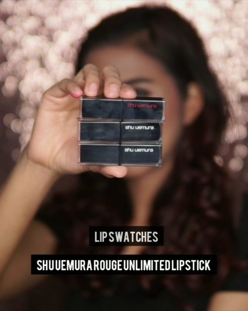 Here's lip swatches @shuuemura #rougeunlimitedlipstick . ❤️A WN 277 ❤️BR 763 ❤️M OR 570 . Ini adalah salah satu lipstick the best yang menurut aku bukan cuma pigmented, tapi formulanya bisa merawat bibir jadi super moist dan pastinya ringan dibibir👌🏼 kekurangannya ya cuma 1 yaitu pricey but worth it to buy! . #clozetteid #ShuUemuraID #ShuUemura #shuuemurarougeunlimited #lipswatches #beauty #makeup #ivgbeauty #indobeautygram #indobeautymakeup #indobeautyvlogger #indobeautyblogger #video #videomakeup
