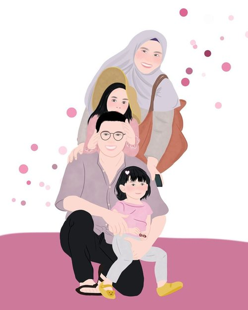 Waiting for the world to heal, and spending more time with my love one 💖⁣ ⁣  Thank you for illustration @xxzillaa_ DM for open commission illustration ☺️ ⁣ #family #stayathome #familyillustration #clozetteid #loveofmylife #familytime