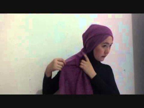Hija Tutorial Glitter Purple Pashmina - YouTube