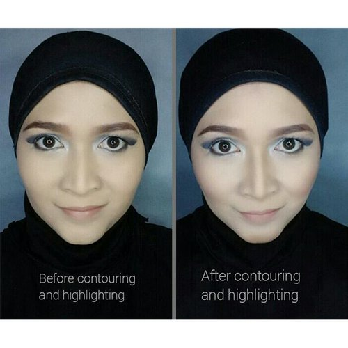 Before and after contouring and highlighting.  Review about KVd shade and light pallete, soon at my blog.  #makeupbyedelyne #hijabbyedelyne #indonesianbeautyblogger #mua #muaindonesia #makeupartist #clozetteid #makeup