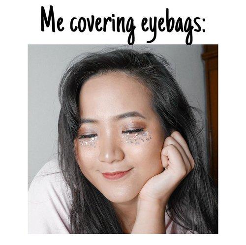 Orang2 tutupin eyebags: pake concealerMe biar glam: pake glitter WKWK ......#clozetteid #cicireceh #jenntanmakeup #recehkaninstagram #beautymemes #memelucu #recehbanget #recehtapisayang #recehan