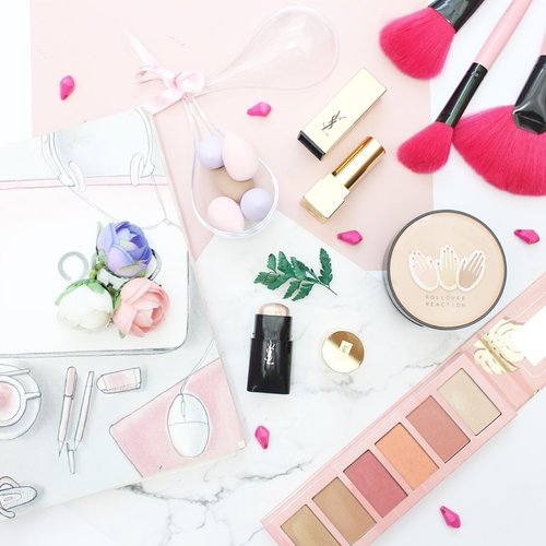 Current favorite product,  _________________ Cushion @rollover.reaction  Hey Cheecks Blush on @essencemakeup  Rouge pur Couture @yslbeauty  Face highlighter duo stick @yslbeauty  Beauty blender @jacquelle_official  ____________ #clozette #clozetteid #starclozetter #dailymakeup #flatlay #flatlaystyle #makeupflatlay #flatlaynation #flatlayphotography #flatlaytoday #beautyblogger #bloggerlife #bloggerstyle