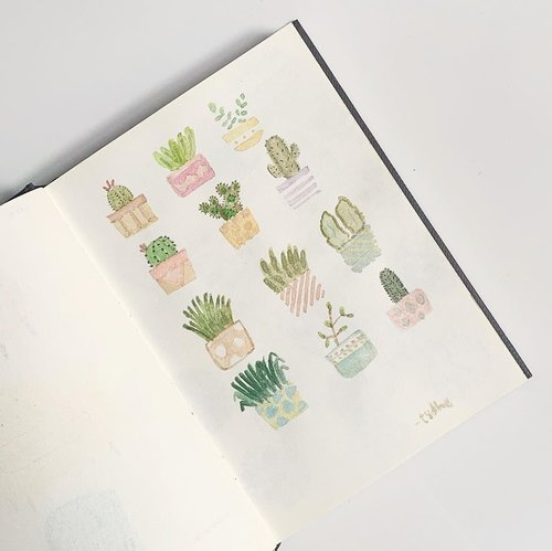 Potted Plant Doodles 🌵🌱🌿 #ClozetteID #watercolor