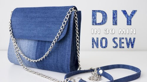 DIY CUTE JEANS PURSE BAG IDEA NO SEW // Old Jeans Transform Into Bag In 30 Min - YouTube