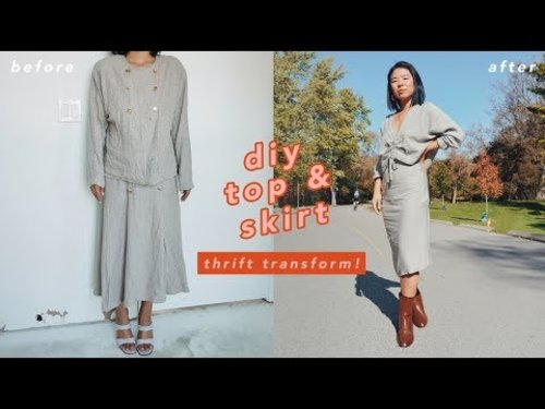 Thrift Transform: DIY Two Piece (Top + Skirt) & Scarf - YouTube