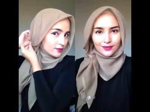 Video Tutorial Hijab  segi empat simple emma queen - YouTube