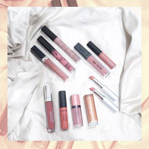 // I cant get enough with pink // Udah banyak banget yang sering nanyain aku soal lipstick yang biasanya aku pake di instagram, snapgram blog dan lain-lain. Jujur aku (dan semua cewek lainnya) kayaknya gabisa berhenti nyobain nude & pink lipstick gak sih?  Hm, tapi ini jajaran favoritku sih😂😂😂 1. @diormakeup Rouge Dior Brilliant - 310 Paname 2. @kyliecosmetics Posie K 3. @val.valeriethomas Louisa 4. @sleekmakeup Lip Cream - Birthday Suit 5. @eminacosmetics Creamatte - 02 Fuzzy Wuzzy 6. @wardahbeauty Exclusive Matte Lip Cream - 013 Fruit Punch 7. @nyxcosmetics_indonesia SLMC - Antwerp 8. @bourjois_id - Velvet no. 10 Dont pink of it 9. @maybelline the powder mattes - make me blush 10. @wardahbeauty Intense Matte Lipstick 02 & 03, How about you? Apa kamu punya kegalauan harian yang sama kayak aku? 😂😂😂 #teammatte atau #teamglossy? . #ClozetteID #LipstickAddict #NudeAddict #PinkAddict