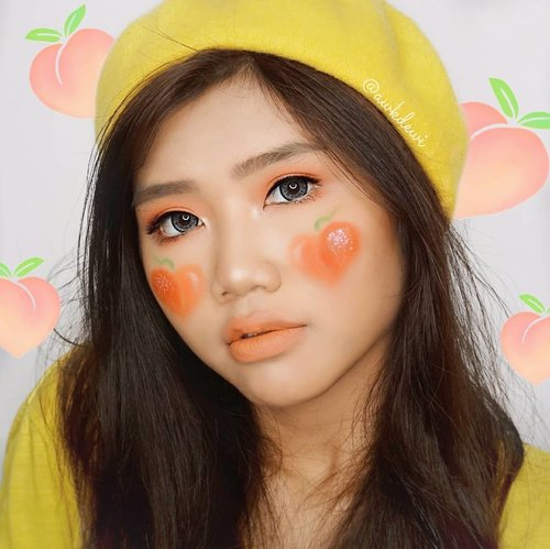 Peachy🍑.Product use:@4u2cosmeticsid♡ Love me more blush - i Adore you(For eyeshadow & Cheek 🍑)♡# You're mine Matte Lipstick - My Romeo.Lens: @athala.store Manga- Siera GreyLashes: @forher.lashes Fancy typeInspired: @amandasmess @blondetaki#peachymakeup #peachmakeup #Clozetteid