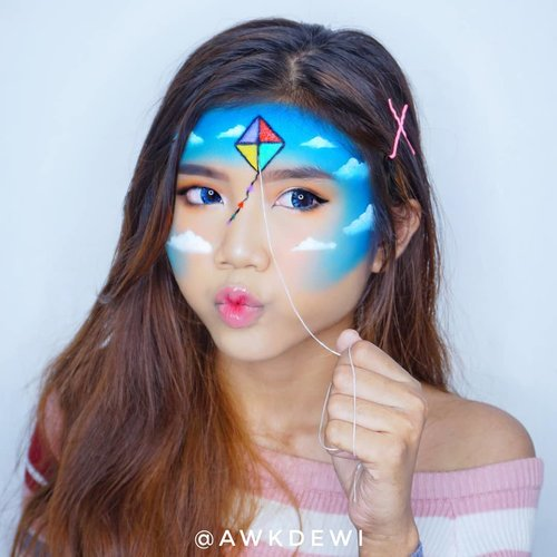 Aku Alay *Anak Layangan.Product Use :@beautyglazed Georges Me Eyeshadow Tray@viva.cosmetics Body Painting - Black & White@imagiccosmetics Face Paint 12 colourSoftlens: X2 Manga - Blue.Insp: @hwajang.13#Indobeautysquad #100daysofmakeup #halloweenmakeup #ClozetteID