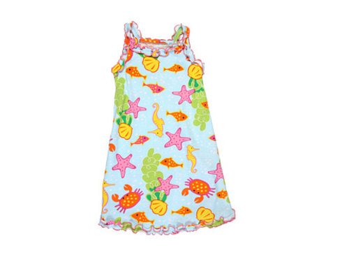 Sara's Prints Kids Ruffle Tank Nightgown (Toddler/Little Kids) Under The Sea - 6pm.com