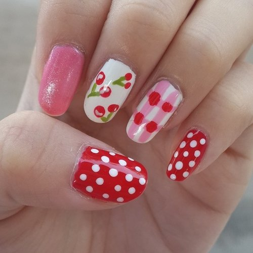 My #cherry #picnic #nailart inspired by @elleandish.. and please excuse my dry cuticle.  Any of you know what should I do with them? They always very ... Read more →