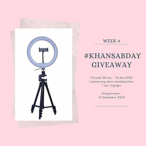 "#khansabdaygiveaway week 4  1 SET RINGLIGHT UKURAN 20CM (SUDAH BESERTA TRIPOD DAN PHONE HOLDER)  untuk 1 orang pemenang paling aktif!  Periode : 28 Nov - 10 Des 2020  Caranya gampang : 1. Wajib follow @khansamanda , @khansamanda.fashion dan subscribe youtube gue (link di bio) 2. Comment ""AKU MAU"" dan tag 5 org teman di posting ini 3. Share posting ini ke ig story kalian, tag gue dan tag 5 teman kalian pakai hashtag #khansabdaygiveaway 4. Tonton, comment, like dan share video youtube gue dan feeds ig gue sebanyak banyaknya  5. Be active di instagram gue .. jd gue tau nii siapa yg aktif beneran, siapa yg mau giveaway doang wkwk 6. Follow tiktok gue jadi nilai tambahan wkwkwk 7. HARUS REAL ACCOUNT! Ga boleh pakai fake account or account khusus giveaway. No no.  Pengumuman tgl 12 desember yaa  untuk 1 org pemenang beruntung. Ongkir gue yg tanggung.. kalian duduk manis aja.  Good luck!😘  #ClozetteID #khansamanda #birthdaygiveaway #giveaway #giveawayindonesia #giveawayringlight #infokuis #kuisgratis #kuisberhadiah #kuisinstagram"