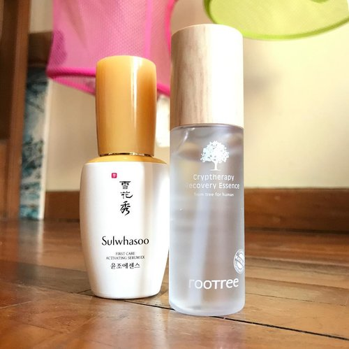 Time for a new skincare! Out with old and in with the new. Emptied out the ever so lovely @sulwhasoo.indonesia first treatment essence ex that helped calm my skin when it's a little acnaic. Now time to try the Rootree Cryptherapy recovery essence.