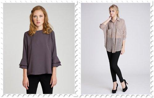 Velvet Laurent blouse in Charcoal; Alfred oversized sheer shirt