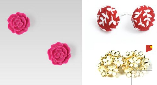 This month's obsession: Earrings. Clockwise: Silhoutte pink pompom earrings, Accessorie covered button earrings, Petite Lola daisy earrings.