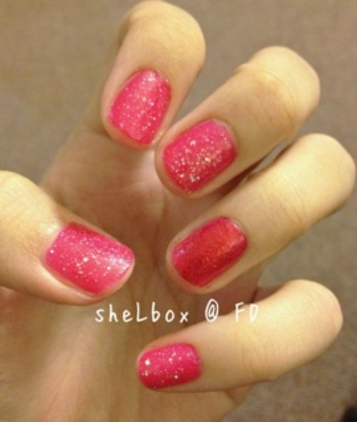 Rimmel - Pop Your Pink as base colour; Barry M - Red Glitter on ring finger; Barry M - Diamond Glitter for the rest.