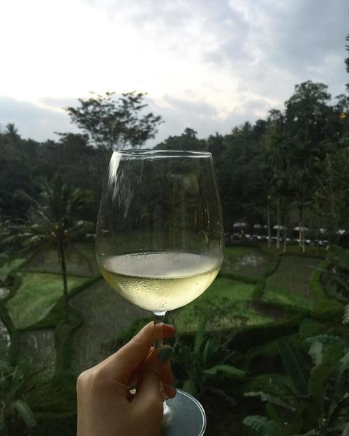 Ending the day with a glass of Hatten Aga White.. Cheers!! 🥂 . . .  #whitewine #hattenwines #ubud #grateful #cheers #poshplushtravel #instatravel #travelling #lifestyle #clozetteid