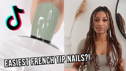 EASIEST FRENCH TIP NAILS EVER?! | testing viral TIkTok stamper nail hack - YouTube