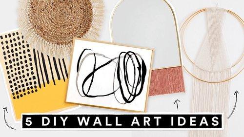 5 DIY WALL ART DECOR IDEAS - Affordable + Cute Room Decor!! - YouTube