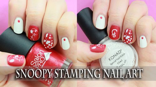 Easy Stamping Nail art for short nails! Cute Cartoon Snoopy Design - YouTube