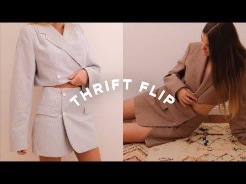 Thrift Flip // Two piece set from oversized blazer - YouTube