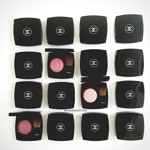 My all time favorite blush; @chanelofficial Joues Contraste Powder Blush.Joues Contraste comes in classic Chanel packaging, black with Chanel logo on the middle, with a mirror and a small brush on the inside. It has a soft, finely milled texture that very easy to apply, buildable and last all day. The colors are subtle with sheen on it that give skin a beautiful yet natural glow, it also has a lovely rose scent which I love so much. My most favorite JCs are Fleur De Lotus, Emotion, Rose Tourbillon, Rouge and Rose Glacier ♡  I've been collecting these blushes since 2010, my first one was Rose Petale, now I have about 45 babies already 💞 • #clozetteid #clozette #fdbeauty #chanel #achanelshot #chanellover #chanelcosmetics #jouescontraste #cccertified #mychanel #makeup #makeupcollection #motd #pickoftheday #weheartit #thatsdarling #indonesianbeautyblogger #bbloggers #beautyblogger #indobeautygram