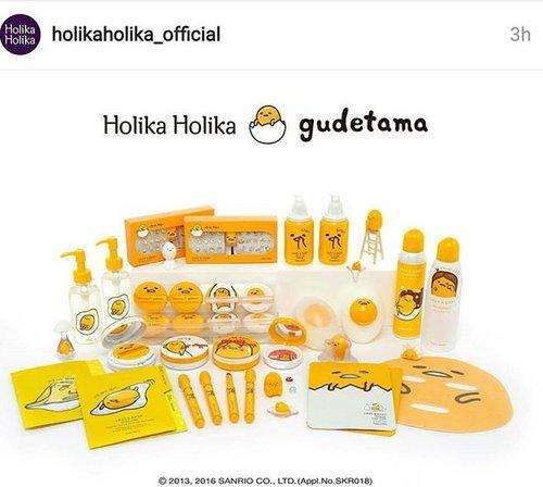 OMG what is this... super cute @holikaholika_official having collaboration with gudetamaaa..... 😍😍😍 im melted 🤑 . #holikaholika #gudetama #makeupjunkie #cutepackaging #cute #구데타마 #홀리카홀리카 #귀엽다 #귀엽다그램 #메익업 #clozetteid