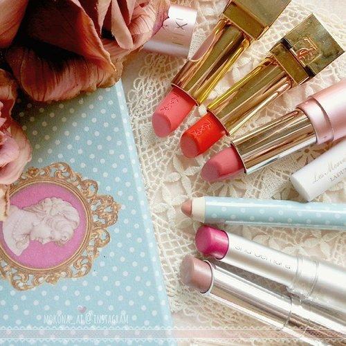 #allweeklippies as tagged by pretty ladies @ellefd @kaepratiwi 💕😘the lippies i wore last week,#DIOR addict lipstick 525 #vintage#ShuUemura MPK 376 #GangnamPink#LesMerveilleusesLadurée lip crayon 103 #Puce ピュス#Pixy L201 #StrawberryDelight#YSL #RougePurCouture 13 #LeOrange ♥ 52 #RosyCoralI tag all my beauty IG friends to show your #allweeklippies! 💗💗 #fdbeauty #clozetteid #femaledaily#makeupjunkie #beautyaddict #lippies #コスメ #ルージュ #yslbeauteid #レセクレットラデュレ #ラデュレ #laduree #シュウウエムラ #ディオール #イヴサンローラン #ピクシー