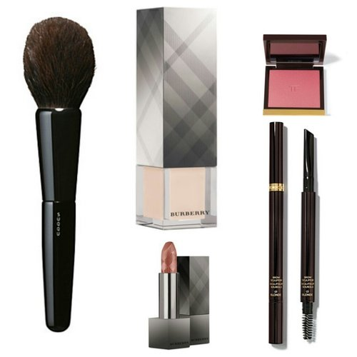 - Suqqu Powder Brush - Burberry Fresh Glow Base - Burberry Lip Velvet 301 Pink Apricot - Tom Ford Wicked blush  - Tom Ford Brow Sculptor in Espresso