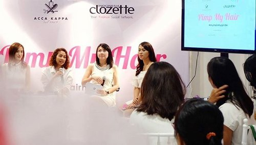 Our hair guru @fidellanovania and representatives of @accakappa_id @sociolla give us great advice about hair, tools, and treatment. Very love event ❤ #MyHairMyPride #MyAccaKappaHair #ClozetteID #ClozetteXAccaKappaXSociolla
