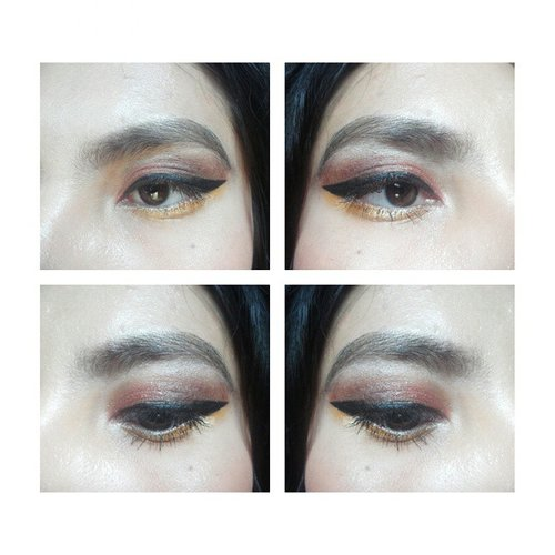 Now listening : Katy Perry - This Is How We Do 🎤🎵🎶 #eotd #copper #gold #eyes #eyebrow #makeup #simple #winged #eyeliner #bbloggers #makeupaddict #clozetteid #femaledaily